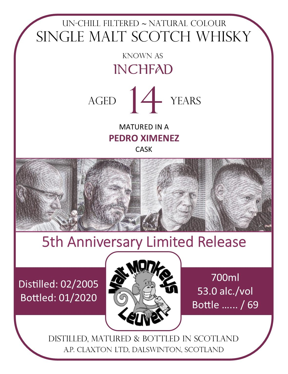 Label Inchfad 2005 for Malt Monkeys Pedro Ximenez