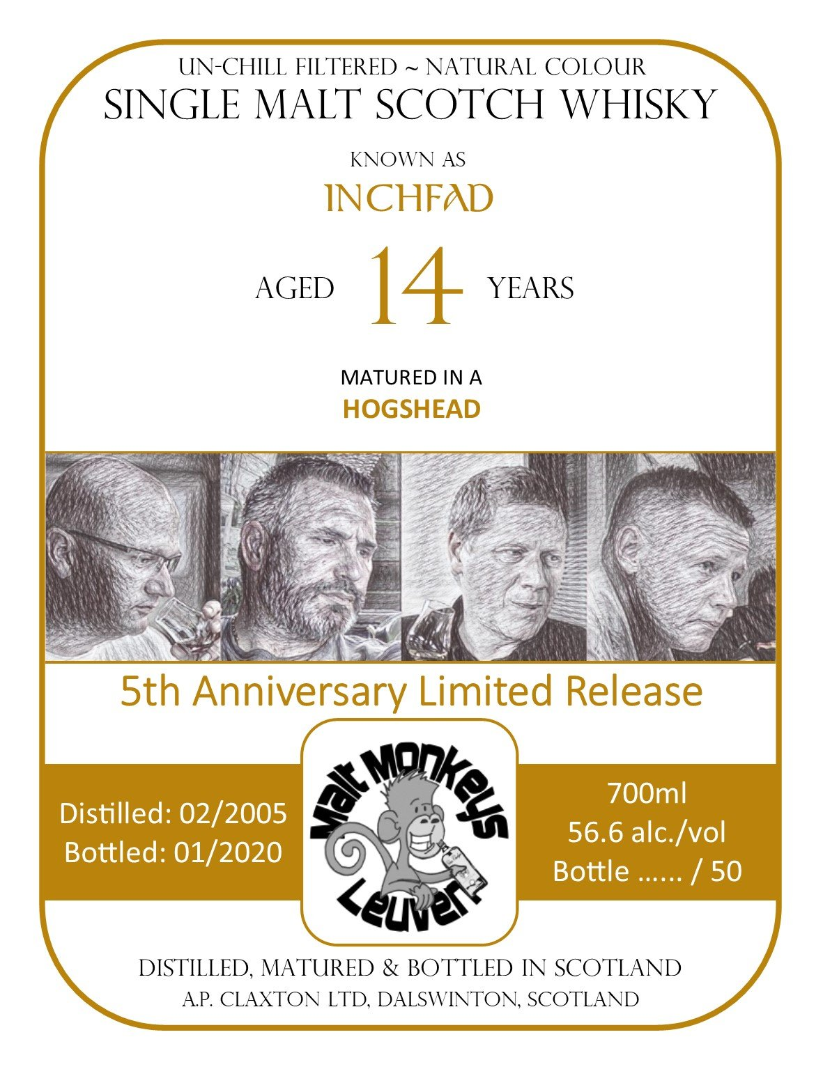 Label Inchfad 2005 for Malt Monkeys hogshead